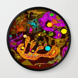 Pink Orange Modern Abstract Low Poly Geometric After Kandinsky Wall Clock