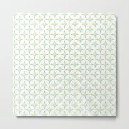 Aqua, Green & Yellow Crossed Lines Pattern Metal Print