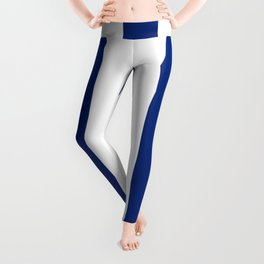 Catalina blue - solid color - white vertical lines pattern Leggings