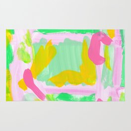 Watermelon Day - Lime Green Mint Colorful Abstract Modern Rug