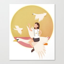 Fly Girl And White Swan Canvas Print