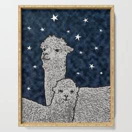 Alpacas on a starry night Serving Tray