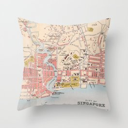 Vintage Singapore Map (1893) Throw Pillow