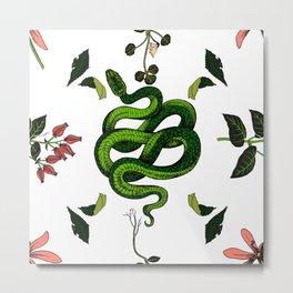 Plants & Snakes - Green Metal Print
