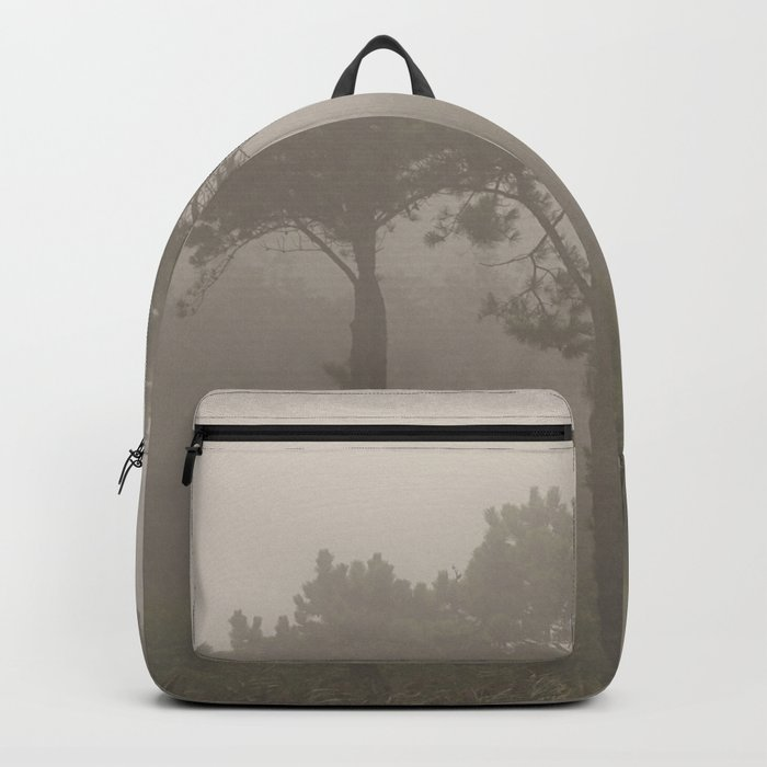 Four Pine Trees in the Fog Backpack