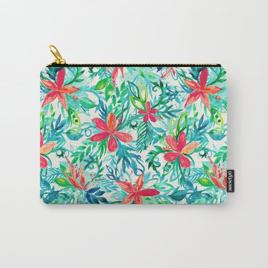 Paradise Floral - a watercolor pattern Carry-All Pouch