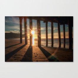 Through the Blinds sun bursts through Avila Pier Avila Beach California Canvas Print
