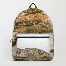 Crystal Clear Lake // Rustic Mountain Gray Sky and Autumn Colors Backpack