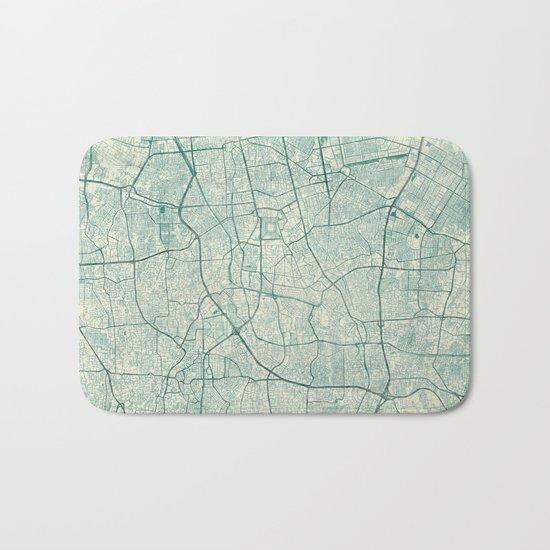 Jakarta Map Blue Vintage Bath Mat