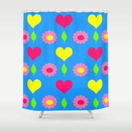 Daisy and heart print, turquoise, pink and yellow Shower Curtain