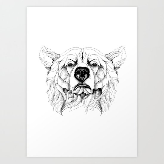 Grizzly Bear (black stroke version for t-shirts) Art Print