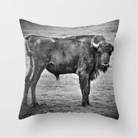 buffalo Throw Pillows featuring Buffalo by davehare