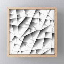 Exclusive light mosaic pattern of chaotic black and white fragments of glass, metal and ice floes. Framed Mini Art Print