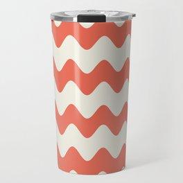 Pantone Living Coral & Cannoli Cream Soft Zigzag Rippled Horizontal Line Pattern Travel Mug