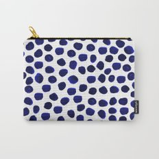 Indigo Spots dots minimal modern abstract painting boho dorm college decor monochromatic nautical Carry-All Pouch