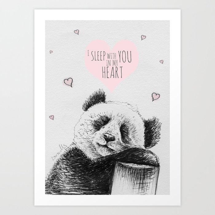Panda sleeps with you in my heart Art Print