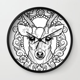 The beautiful deer looking at you with big eyes Wall Clock