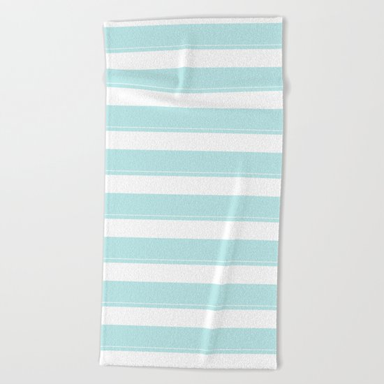 Striped 2 - turquoise stripes on white - beautiful pattern Beach Towel