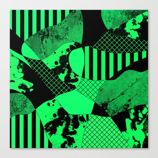 Black And Teal - Abstract, geometric, multi patterned artwork Canvas Print