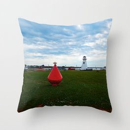 Marker Buoy and Lighthouse Throw Pillow