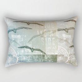 Free Like A Bird Seagull Mixed Media Art Rectangular Pillow