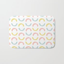 Pastel pink coral blue yellow abstract geometrical circles Bath Mat