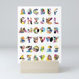 AMP Noise collage alphabet (white poster) Mini Art Print