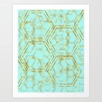 Hexagold Mint Art Print