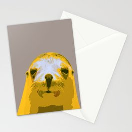 SEAL, HAPPY SEAL, SEAL FACE, Larhe pop art, curious seal, pop art animal, little seal, baby seal Stationery Cards