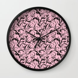Pink & Black Flourish Pattern Wall Clock