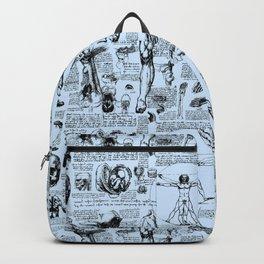 Da Vinci's Anatomy Sketchbook // Light Blue Backpack
