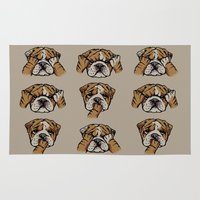 english bulldog Area & Throw Rugs featuring Noevil English Bulldog by Huebucket
