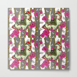 RED-YELLOW  ORIENTAL STYLE BUTTERFLIES & PINK ROSES GREY PATTERN DESIGN FROM SOCIETY6   BY SHARLESAR Metal Print