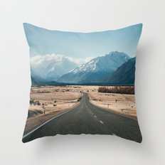 Road to Mt Cook, New Zealand Throw Pillow