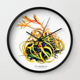 Tillandsia Xerographica Air Plant Watercolor Wall Clock
