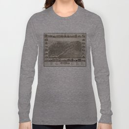 Vintage Pictorial Map of Saginaw Michigan (1885) Long Sleeve T-shirt