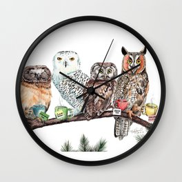 Tea owls , funny owl tea time painting by Holly Simental Wall Clock