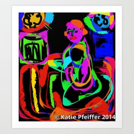 Sitting Meditation Digital Drawing Art Print