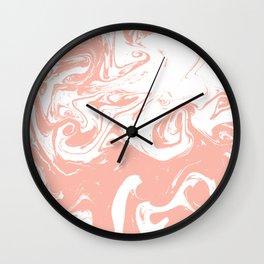 Marble pink 2 Suminagashi watercolor pattern art pisces water wave ocean minimal design Wall Clock