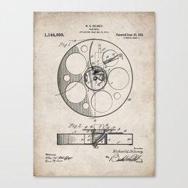 Film Reel Patent - Classic Cinema Art - Antique Canvas Print