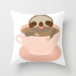 Sloth in a Pink cup coffee, tea, Three-toed sloth Throw Pillow