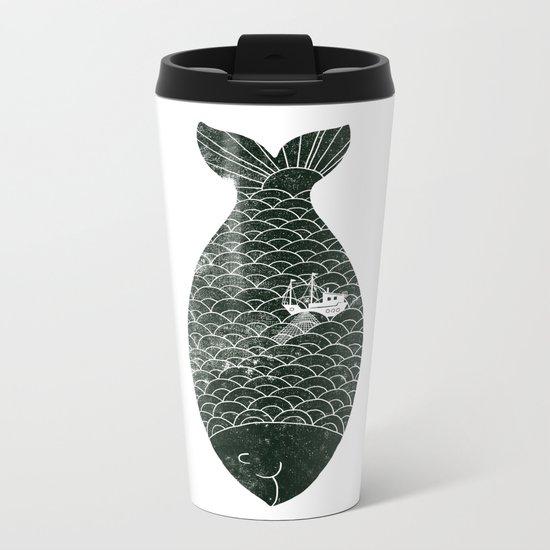 Fishing in a fish Metal Travel Mug