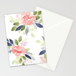 Peach & Nvy Watercolor Flowers Stationery Cards