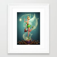 tinker bell Framed Art Prints featuring Tinker Bell by Felipe Kimio