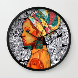 Portrait of a woman Jackie with multicolored headwrap Wall Clock