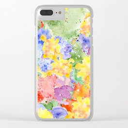 Modern whimsical pink purple yellow hand painted watercolor Clear iPhone Case