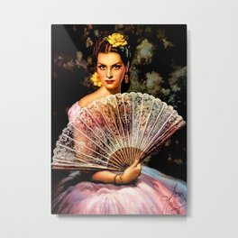Jesus Helguera Painting of Spanish Beauty with Lacey Fan Metal Print