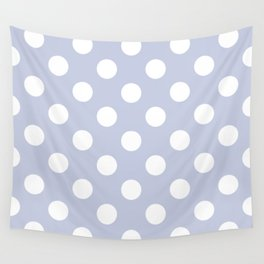 Light periwinkle - grey - White Polka Dots - Pois Pattern Wall Tapestry