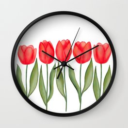 Red Spring Tulips Watercolor Flowers Wall Clock