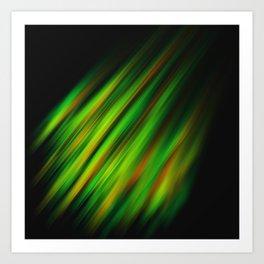 Colorful neon green brush strokes on dark gray Art Print